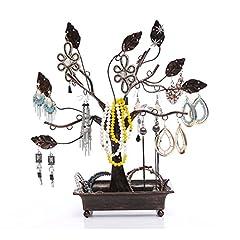 Idea Regalo - Uctop Store metallo gioielli espositore porta anelli nero fortuna albero orecchino collana bracciali gioielli supporti da parete organiser rack decorazioni ornamenti anello display Tower stand-a