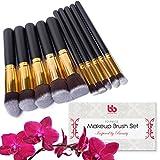 Beauty Bon Professionelle Make-up-Pinsel, 10-teiliges Set, vegan, Kunststoffgriffe, ideal für die Anwendung von Concealer, Foundation und Puder