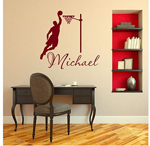 KWELJW Wall Sticker Fashion Personalized Custom-Made Name Sport Basketball Player Wall Decal Boys Kids Bedroom Home Art Mural -