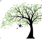 AIYANG Gigante Negro Adhesivo de Pared, árbol con Hojas Verdes y pájaros Birdcage DIY Pared Vinilo...