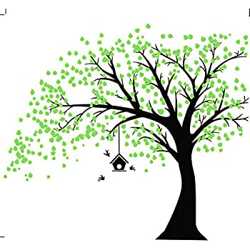 Rocwart Tree Leaves Wall Sticker for Living Room Children Kids Wall Decoration Removable Vinyl Wall Decal Art Home Decoration 100PCS,Green