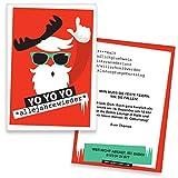 Einladungskarten Geburtstag YO YO YO | 50 Stück | Weihnachtsfeier | Inkl. Druck Ihrer Texte | Einladungen Geburtstag | Lustige Geburtstagseinladungen | Witzige Einladungskarte | Karte Einladung