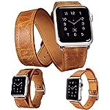 icarercase® 3 in 1 correas para apple watch Cuero de la alta calidad Replacement Correa De Reloj Pulsera Watch Band De Reloj Replacement Strap watchband para Apple iWatch Reloj (3 in 1 Orange Brown 38mm)