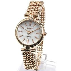 Rose Gold + PNP Band Rose Gold + PNP Uhrgehäuse weißen Zifferblatt-Armband-Uhr