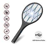 AUZKIN Elektrische Fliegenklatsche Moskito Bug Zapper Insektenvernichter,USB wiederaufladbar mit LED Beleuchtung und Abnehmbaren Taschenlampe,3-Schicht Mesh Schutz