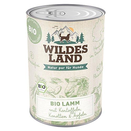 Wildes Land   BIO Lamm   6 x 400 g   mit Kartoffeln   Getreidefrei & Hypoallergen   Extra hoher Fleischanteil von 60%   Nassfutter für alle Hunderassen   100% - Hühner Napf Futter