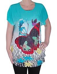 EyeCatch - Womens Multi Coloured Tunic Ladies Designer Pattern Tshirt Top