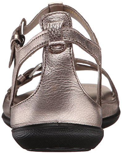 Ecco Flash Leder Gladiator Sandale Warm Grey Metallic
