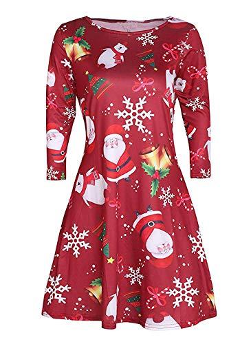 Avacoo Damen Kleid Weihnachten Langarm Weihnachtskleid Festlich Partykleid Weihnacht Rot Medium 38