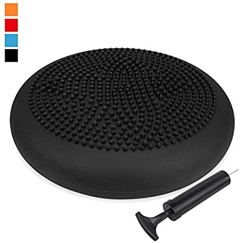 Extra Thick 34cm Matte Surface Balance Cushion, Air Stability Wobble Board, Wobble Cushion, Posture Trainer, Balance Board, TRIDEER Anti-Burst Fitness Stability Pad in Anti-Slip Surface, with Free Pump - for Improving Posture, Supports Muscle, Physical Therapy, Rehabilitation, Core Stability Training - Suitable for Men and Women, Available in 6 Colors(Black, Blue, Green, Purple, Red, Orange)