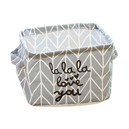 Aloiness Stoff Aufbewahrungskörbe grau Spielzeug Aufbewahrungstasche Kleidung Make-up-Organizer faltbar Korb Tasche Staub Korb Aufbewahrungsbox Home (Make-up-korb)