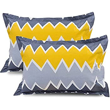"""Trendz Home Furnishing Cotton 2 Piece Cotton Pillow Cover Set - 20""""x30"""", Green, Rust and White (Yellow)"""