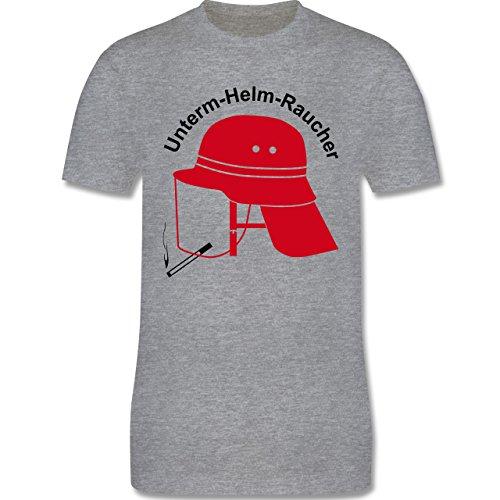 Feuerwehr - Unterm-Helm-Rauch - Herren Premium T-Shirt Grau Meliert