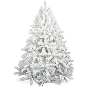 Weißer künstlicher Weihnachtsbaum 150cm in Premium Spritzguss Qualität, weiße Douglastanne, Tannenbaum weiß mit PE Kunststoff Nadeln, Douglasie Christbaum im schneeweißen Design