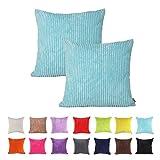 Kissenbezüge IHRKleid® Solid Color Corduroy Decorative Pillowcase Cushion Cover for Sofa Throw Pillow Case Available in 14 Color (50*50 cm, Blau)