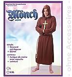 Hochwertiges Mönchskostüm für Herren | 2-teiliges Priester-Gewand bestehend aus Kapuze und Gürtel | Robe | Mönch-Kostüm | Mittelalterliches Faschingskostüm | (XXL) -