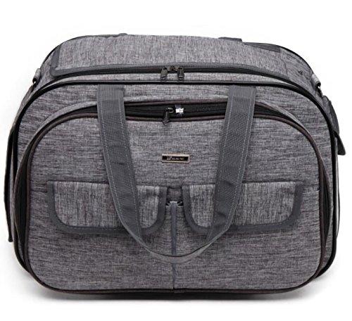 Haol Erweiterbare Faltbare Pet Carrier Reise Handtasche mit Polsterung und Erweiterung Airline Genehmigt Medium Zwinger Reisetasche,Gray,M50×30×33Cm (Öffnen Sie Tasche Pet Carrier)