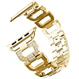 HappyTop Femme Bande de rechange pour Apple montre 1/2/338mm/42mm, Acier inoxydable Bracelet, iWatch Bandes, femme, doré, 38 mm