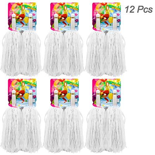 Weiße Cheerleader Kostüm - Hatisan-Pro 12er Pack(6x2) Cheerleading Pom Pom, Prämie Gerader Handgriff Cheerleader Pompons, Pompons Cheerleading für Sport Cheers Ball Dance Kostüm Nacht Party (Weiß)