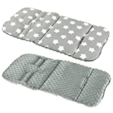 REVERSIBLE cotton & minky Pram INSERT, LINER covers 5pt Universal (LG stars / grey fleece)