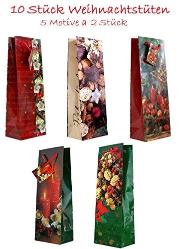10 Geschenktüten Weihnachten Flaschentüten Kerzen Blumen Nüsse Jumbo XL 36 x 13 x 9 cm