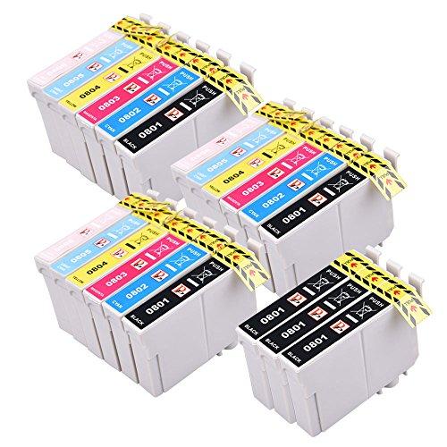 PerfectPrint Kompatibel Tinte Patrone Ersatz für Epson P50 PX650 PX660 PX700W PX710W PX720WD PX730WD PX800FW PX810FW PX820FWD PX830FWD (Schwarz/Cyan/Magenta/Gelb/Licht-Cyan/Licht-Magenta ,21-Pack) - 21k Toner Schwarz