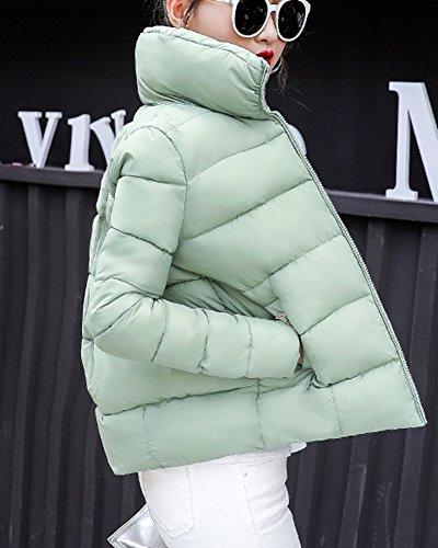 Parka Giacca Donna Manica Lunga Cappotto Caldo Corto Imbottito Giubbino Casuale Verde chiaro