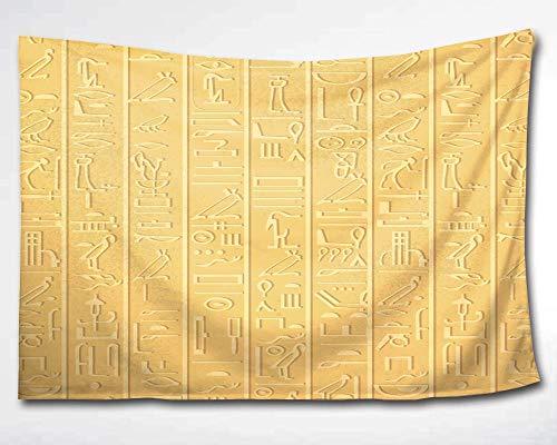 HMWR ?gypten-Dekoration, Wandbehang, antike Hyeroglyphen,Ethnische Tapisserie,afrikanische ?gyptische W?rter,Schlafsaal, Strand¨¹berwurf, Wanddekoration, 152,4 x 228,6 cm, goldfarben, multi, 60x90(in)
