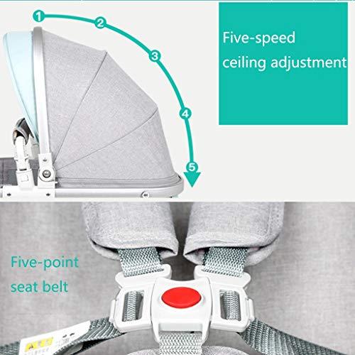 Meen Folding Stroller, Sitting Reclining Folding Shock Absorber Stroller High Landscape Lightweight Children's Trolley (Color : Pink)