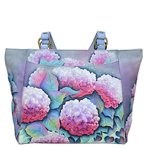 Anuschka Damen-Handtasche aus echtem Leder, klassisch, handbemalt, hypnotische Hortensien (Leder Anuschka Handtaschen)