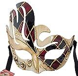 LannaKind Handgefertigte Venezianische Maske Augenmaske Damen und Herren (C09 rot-schwarz)