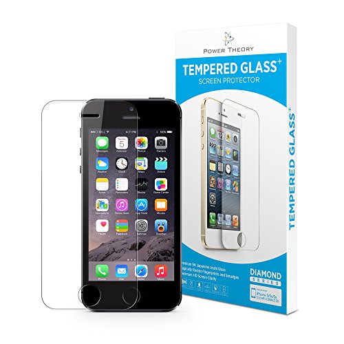 Verre Trempé iPhone 5/5s/5c/SE - Film Protecteur Anti-rayure, Protection Ecran sans Bulles d'air, Vitre Ultra Résistant Dureté 9H avec Easy install Kit de Power Theory
