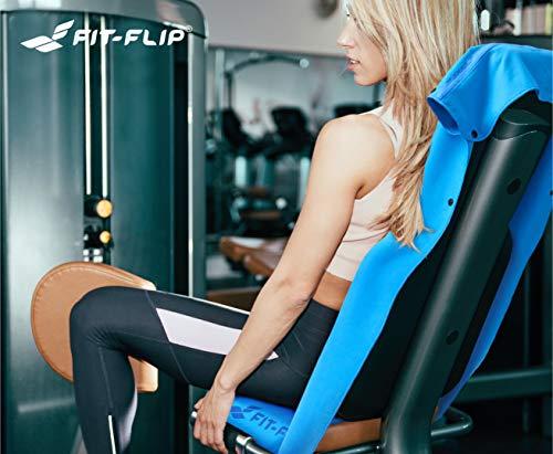 3-tlg Fitness-Handtuch Set mit Reißverschluss Fach + Magnetclip + extra Sporthandtuch   zum Patent angemeldetes Multifunktionshandtuch, Fit-Flip Microfaser Handtuch (gelb) - 6