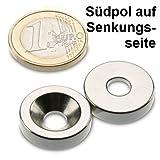Neodym Ringmagnet Ø 20,0 x 6,4 x 5,0 mm N35H Nickel m. Senkung Südpol auf der Senkungsseite, zum Anschrauben, verwendbar bis 120°C