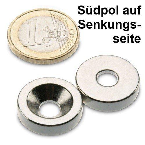 Neodym Ringmagnet Ø 20,0 x 6,4 x 5,0 mm N35H Nickel m. Senkung Südpol auf der Senkungsseite, zum Anschrauben, verwendbar bis 120°C - Nickel Auf