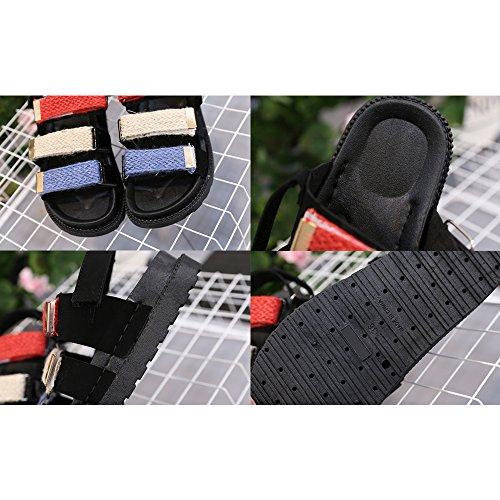 Eastlion Streifen Magische Aufkleber Weibliche Studenten Sandalen Sommer Freiliegende Zehe Dicke untere Sandalen Stil 1 Schwarz