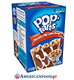 AMERICANFOOD4U - Kellogg's Pop Tarts | CHOCOLATE CHIP COOKIE DOUGH (Frosted) | 8 Törtchen | 400 g | Amerikanische Kuchen Süßigkeit als Frühstücksartikel oder als Backware für den Toaster, Backofen | American Sweet, Candy - Original aus den USA
