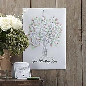 Ginger Ray Arbre de mariage Affiche représentant un arbre sur lequel les convives de votre mariage pourront poser leurs empreintes Encre verte et marron incluse Plus original qu'un livre d'or