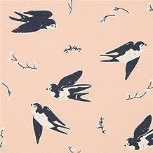 Tissu bio birch en popeline pêche avec des oiseaux