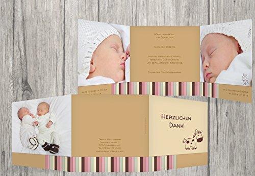 Kartenparadies Danksagung für Geburt Baby Dankeskarte Zwillinge Retro, hochwertige Danksagungskarte Baby inklusive Umschläge | 50 Karten - (Format: 145x145 mm) Farbe: BeigeOrange