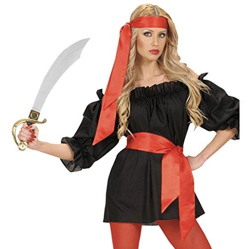 Satin Haarband Stierkämpfer Satintuch rot Seeräuber Schärpe Piraten Gürtel Karneval Kostüm Zubehör Torero Accessoire Pirat (Schärpe Piraten)