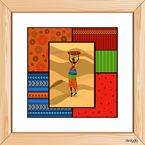 DeStudio African Girl With Sandy Floor Light Brown Small Wall Painting Stickers (Wall Covering Area : 30cm X 30cm )-13957  available at amazon for Rs.79