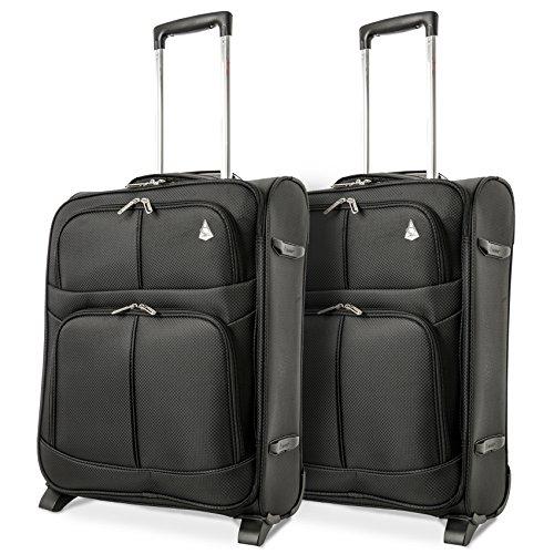 Aerolite 55x40x20 Ryanair Taille Maximale 42L Bagage Cabine Bagage à Main Valise Souple Légere à 2 roulettes, s'adapte Également à Easyjet Lufthansa Jet2 Monarch Plus, Set de 2 Valises, Noir