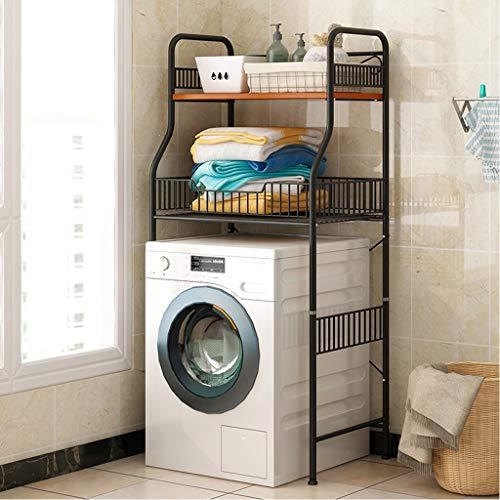 2-lagiges Abstellregal für die Waschmaschine - Abstellregal für das Badezimmer aus Metall - Abstellregal für die Waschküche - WC - Schwarz - Weiß - Abstellregal für die Abstellkammer ( Color : Black )