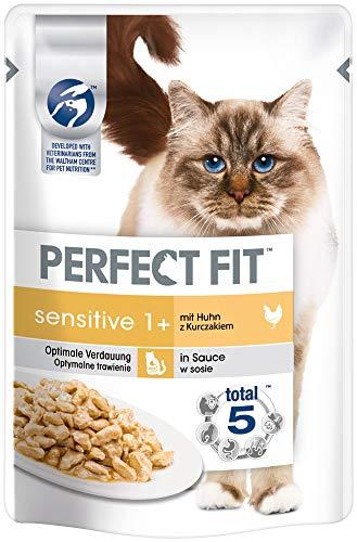 Perfect Fit Katzenfutter Nassfutter Sensitive Adult 1+ mit Huhn in Sauce, 12 - Fit Perfect Katzenfutter Sensitive