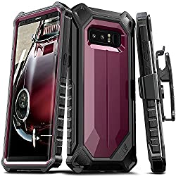 ELV Holster Defender 360 degree Heavy Duty Armor Full Body Protective with Belt Clip for Samsung Galaxy Note 8 - Wine/ Black