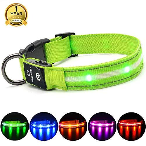Leuchthalsband für Hunde Aufladbar LED Hundehalsband 100{778f722f929943677d369e43801c64ad7b0c9eba17c34b92b8fae137000f683b} Wasserdicht Blinkende Lichter mit USB von MASBRIL(L, 50cm, Grün)