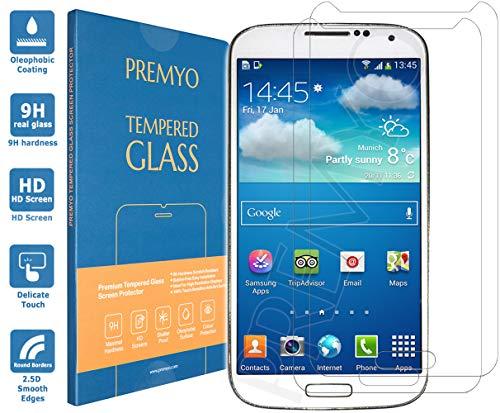 PREMYO 2 Stück Panzerglas Schutzglas Bildschirmschutzfolie Folie kompatibel für Samsung Galaxy S4 Mini Blasenfrei HD-Klar Gegen Kratzer Fingerabdrücke