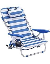 SONGMICS Silla de Playa Portátil, Plegable, Aluminio, con Almohada, Reclinable, para Llevar como Mochila, Silla de Exterior, Rayas Azules y Blancas GCB62BU