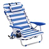 SONGMICS Chaise de Plage, Pliante, Aluminium, avec Oreiller, Pliable, inclinable,...